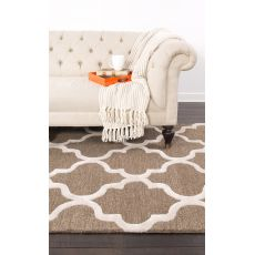 Contemporary Trellis, Chain And Tile Pattern Brown/Ivory Wool Area Rug (9X12)