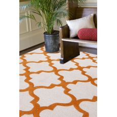 Contemporary Trellis, Chain And Tile Pattern Ivory/Orange Wool Area Rug (8X11)