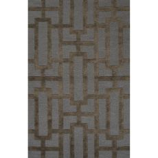 Contemporary Trellis, Chain And Tile Pattern Blue/Brown Wool And Art Silk Area Rug (9.6X13.6)