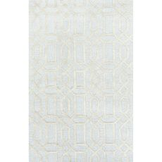 Contemporary Trellis, Chain And Tile Pattern Blue/Gray Wool And Art Silk Area Rug (9.6X13.6)