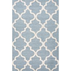 Contemporary Trellis, Chain And Tile Pattern Blue/Ivory  Wool Area Rug (9.6X13.6)