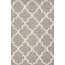 Contemporary Trellis, Chain And Tile Pattern Gray/Ivory  Wool Area Rug (9.6X13.6)