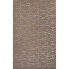 Contemporary Trellis, Chain And Tile Pattern Gray/Taupe Wool And Art Silk Area Rug (8X11)