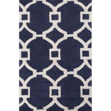 Contemporary Trellis, Chain And Tile Pattern Blue/Ivory Wool And Art Silk Area Rug (8X11)