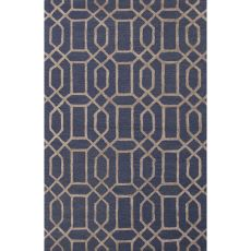 Contemporary Trellis, Chain And Tile Pattern Blue/Taupe Wool And Art Silk Area Rug (8X11)