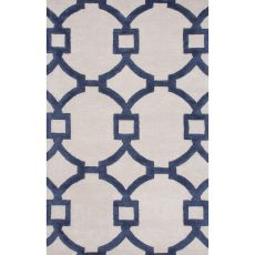 Contemporary Trellis, Chain And Tile Pattern Ivory/Blue Wool And Art Silk Area Rug (9X12)