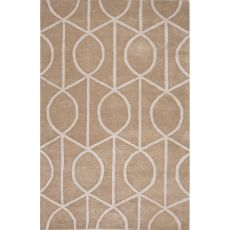 Contemporary Trellis, Chain And Tile Pattern Taupe/Ivory Wool And Art Silk Area Rug (8X11)