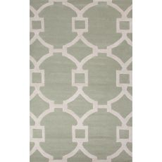 Contemporary Trellis, Chain And Tile Pattern Neutral Wool And Art Silk Area Rug (8X11)