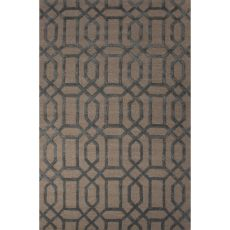 Contemporary Trellis, Chain And Tile Pattern Ivory/Blue Wool And Art Silk Area Rug (8X11)