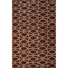 Contemporary Trellis, Chain And Tile Pattern Red Wool And Art Silk Area Rug (8X11)