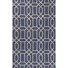 Contemporary Trellis, Chain And Tile Pattern Blue Wool and Art Silk Area Rug (9.6x13.6)
