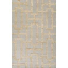 Contemporary Trellis, Chain And Tile Pattern Green Wool And Art Silk Area Rug (9.6X13.6)
