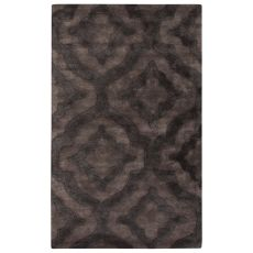 Contemporary Trellis, Chain And Tile Pattern Gray Wool And Art Silk Area Rug (9.6X13.6)