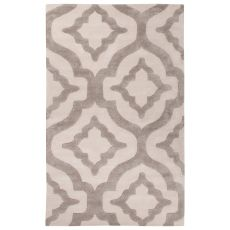 Contemporary Trellis, Chain And Tile Pattern Ivory/White Wool And Art Silk Area Rug (9.6X13.6)