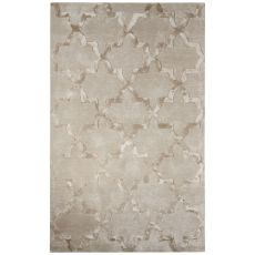Trellis, Chain & Tiles Pattern Wool And Viscose City Area Rug