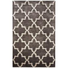 Contemporary Trellis Pattern Dark Gray Wool And Art Silk Area Rug (9.6X13.6)