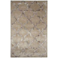 Contemporary Trellis Pattern Gray Wool And Art Silk Area Rug (9.6X13.6)