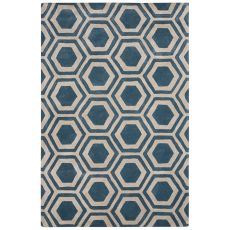 Contemporary Tribal Pattern Blue Wool And Art Silk Area Rug (9.6X13.6)