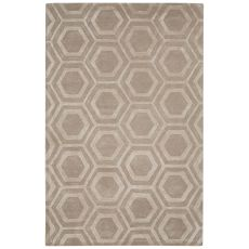 Contemporary Tribal Pattern Ivory/White Wool And Art Silk Area Rug (9.6X13.6)