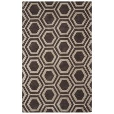 Contemporary Tribal Pattern Dark Gray Wool and Art Silk Area Rug (9.6x13.6)