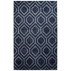Contemporary Tribal Pattern Gray/Blue Wool And Art Silk Area Rug (9.6X13.6)