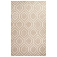 Contemporary Tribal Pattern Taupe/Ivory Wool And Art Silk Area Rug (9.6X13.6)