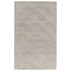Contemporary Geometric Pattern Gray/Neutral Wool And Viscose Area Rug ( 8X11)