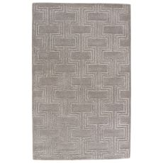 Contemporary Geometric Pattern Gray/Silver Wool And Viscose Area Rug ( 8X11)