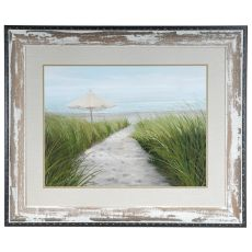 Umbrella On The Beach Framed Print