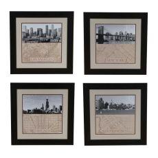 Chicago,Ny,La,San Fransico Set 4 Framed Print