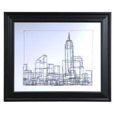 Wire Frame Cityscape 1 Framed Print