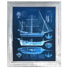 Antique Ship Blueprints 1 Framed Print