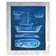 Antique Ship Blueprints 2 Framed Print