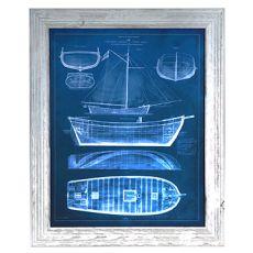 Antique Ship Blueprints 2 Framed Print
