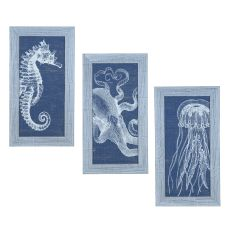 Denim Wash Jelly Fish (Set Of 3) Domestic Wall Art