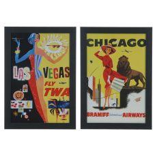 Vintage Destinations 1&3 (Set) Framed Print