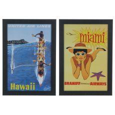 Vintage Destinations 2&4 (Set) Framed Print