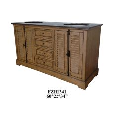 "Oak Ridge 4 Louvered Door / 4 Drawer 6"" Double Vanity Sink"