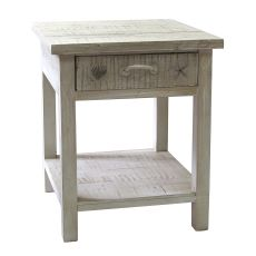 Seaside White Coastal End Table