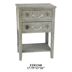 Seaside White Shell 2 Drawer Accent Table