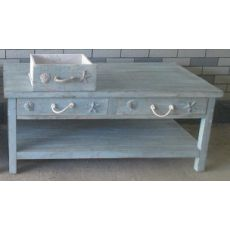 Bayside Blue Shell 2 Drawer Cocktail Table