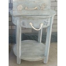 Bayside Blue Shell 1 Drawer Round Accent Table
