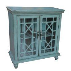 Mendenhall 2 Geometric Glass Door Textured Teal Cabinet