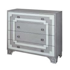 Olympia Grey And White Greek Key 3 Drawer Chest