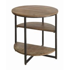 Fairmont Metal And Wood Round Tier End Table