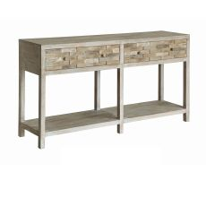 Forrest Park Rustic Wood 2 Drawer Woodblock Console