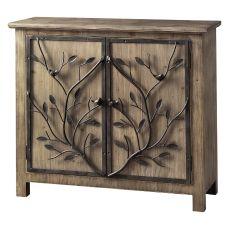Windcrest Rustic Wood And Metal Tree 2 Door Cabinet