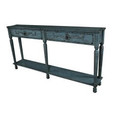 Harrison Distressed Grey 2 Drawer Console