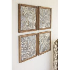 Framed Tropical Pressed Metal Tiles Set of 4