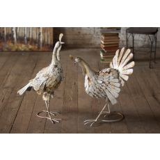 Antique White Metal Turkeys Set of 2